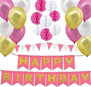 Gyvazla Globos Cumpleaños, Decoraciones Fiesta de Cumpleaños con Happy Birthday Bandera, 8 Pompon de Papel, 12 Globos, 12 Pancarta Triangular, para Chicas, Mujeres y Adultos: Amazon.es: Juguetes y juegos