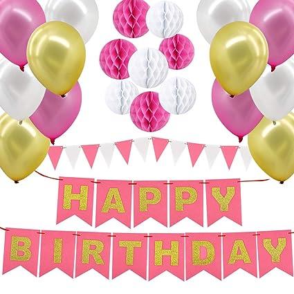 Gyvazla Globos Cumpleaños, Decoraciones Fiesta de Cumpleaños con Happy Birthday Bandera, 8 Pompon de Papel, 12 Globos, 12 Pancarta Triangular, para ...