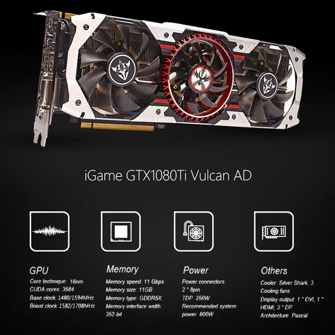 Amazon.com: Graphics Card, iGame GTX1080Ti Vulcan AD 11GB Video Graphics Card 1594/1708MHz forNIER colorful (Black): Clothing