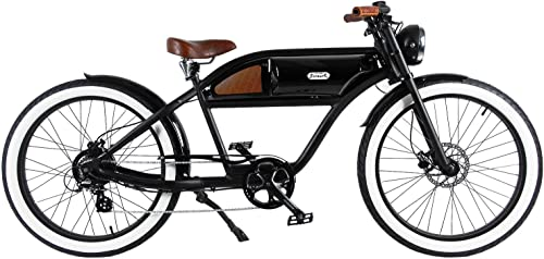 MICHAEL BLAST T4B GREASER RETRO STYLE Electric BIKE – 26 Wheels, Bafang 350W Brushless Electric Motor, 7-speed, 36V13Ah, Li-Ion Battery, Extended Range, Black