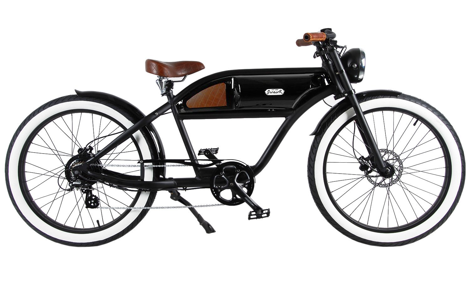 MICHAEL BLAST T4B GREASER RETRO STYLE Electric BIKE – 26 Wheels, Bafang 350W Brushless Electric Motor, 7-speed, 36V13Ah, Li-Ion Battery, Extended Range