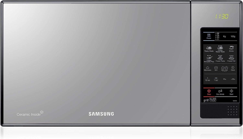 Samsung GE83X Microondas con Grill, 23 Litros de Capacidad, Interior Cerámico Enamel, Potencia 800W/1200W, 6 niveles de potencia, Color Acero Espejo