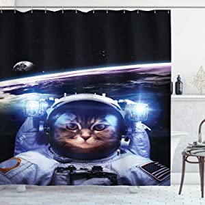 Ambesonne Cat Shower Curtain, Funny Astronaut Cat Above Earth in Outer Space Explorer Kitty Mission Humor Art Image, Cloth Fabric Bathroom Decor Set with Hooks, 75