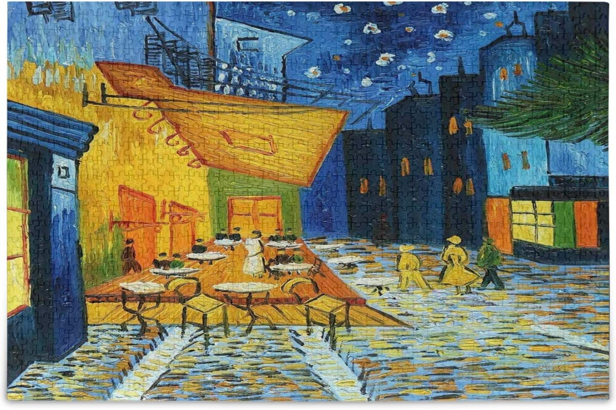 Oarencol Cafe Terrace at Night Vincent Van Gogh Jigsaw Puzzle Artwork Painting 500 Pieces Puzzles for Adults Kids