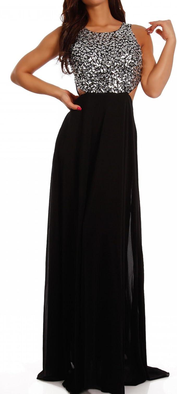Young-Fashion Damen Abendkleid Maxikleid Chiffonkleid mit Strasssteinen und  Zierausschnitt