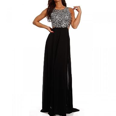 Young-Fashion Damen Abendkleid Maxikleid Chiffonkleid mit Strasssteinen und  Zierausschnitt  Amazon.de  Bekleidung e02c33c2ce