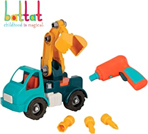 Battat – Take-Apart Crane Truck – Toy vehicle assembly playset with functional battery-powered drill - Early childhood developmental skills toy for kids aged 3 and up