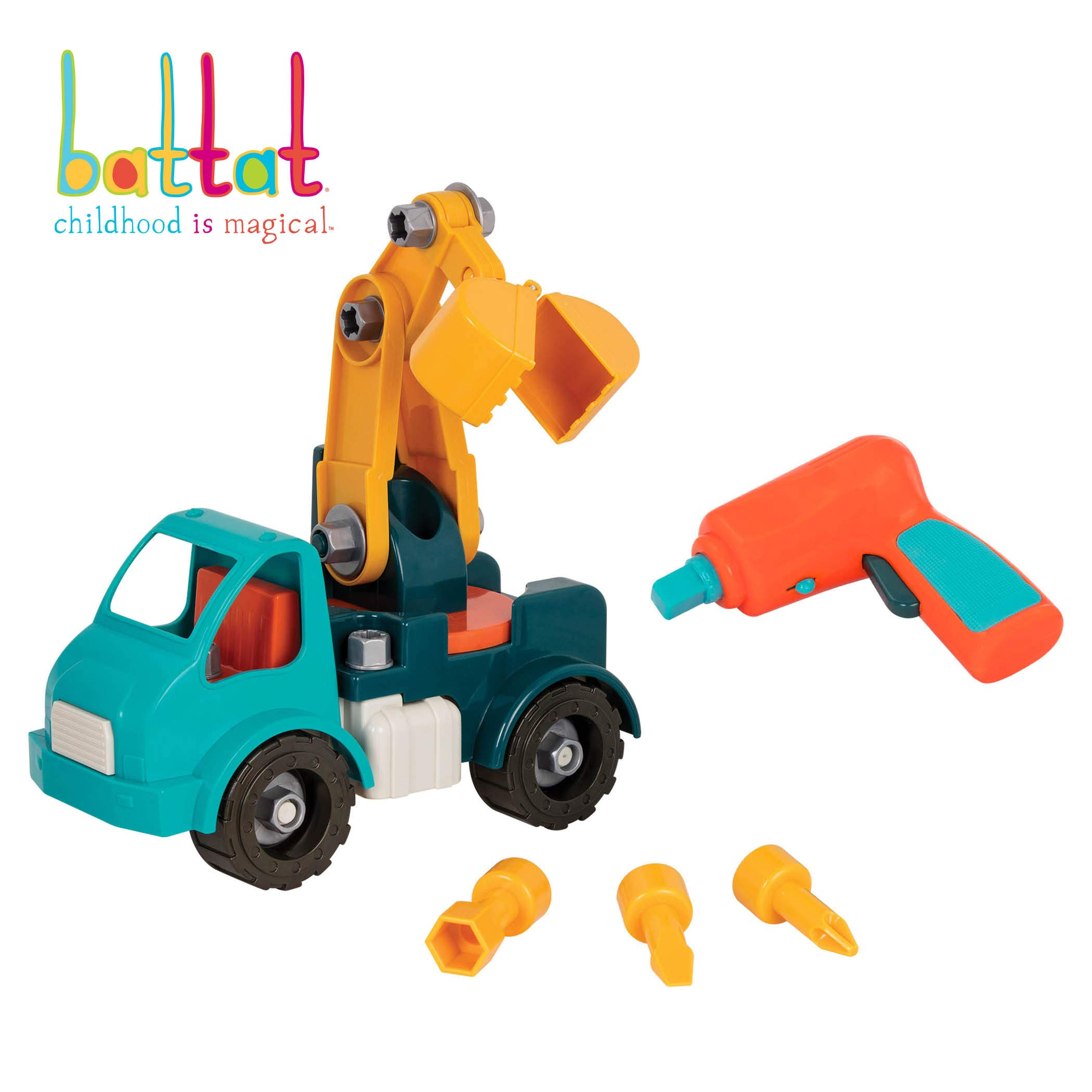 Battat - Take-Apart Crane Truck - Toy vehicle assembly playset with functional battery-powered drill - Early childhood developmental skills toy for kids aged 3 and up