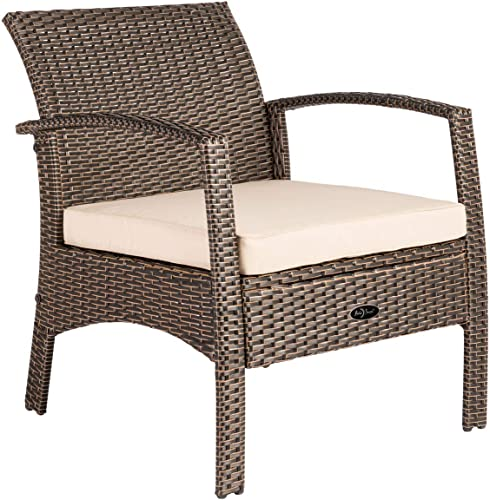 Patio Sense Bondi Wicker Outdoor Armchair Lounge Chair, Mocha
