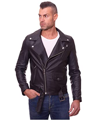 bfa5f950743 D Arienzo - CHIODO Biker • Couleur Noir • Blouson Cuir Homme Perfecto Cuir d