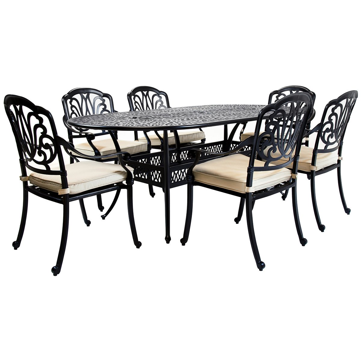 Bentley Garden - Sitzgruppe mit 6 Stühlen - Aluminiumguss - Für Garten & Terrasse