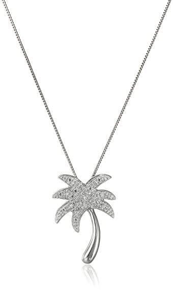 Amazon 10k white gold diamond palm tree pendant necklace 005 10k white gold diamond palm tree pendant necklace 005 cttw i j color i2 aloadofball Images