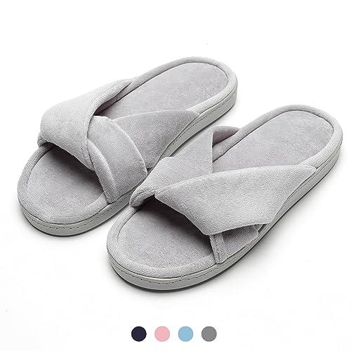 Zapatillas de casa Mujer, Ultraligero cómodo y Antideslizante, Zapatilla de Estar por casa para Mujer con Adorno de Nudo Sobre la Pala: Amazon.es: Zapatos y ...