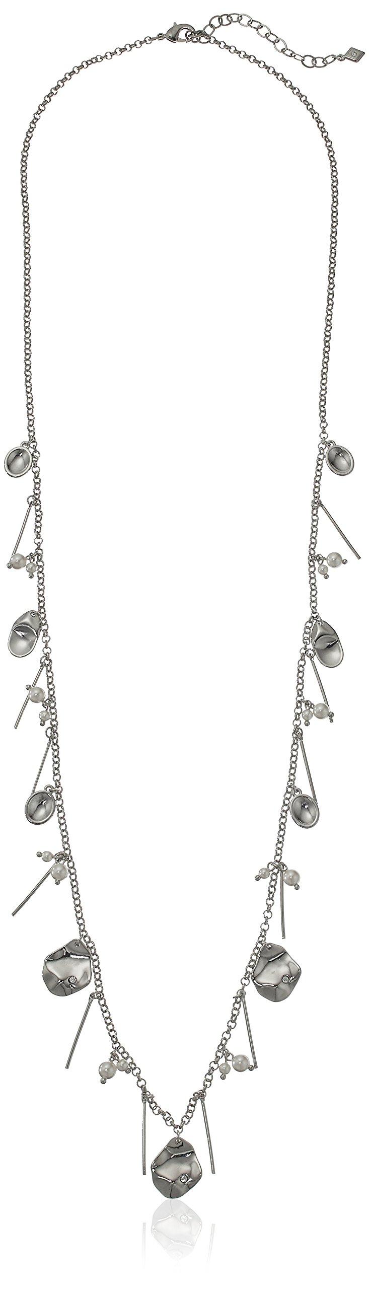 Vera Bradley Petals Cluster Strand Necklace in Silver Tone
