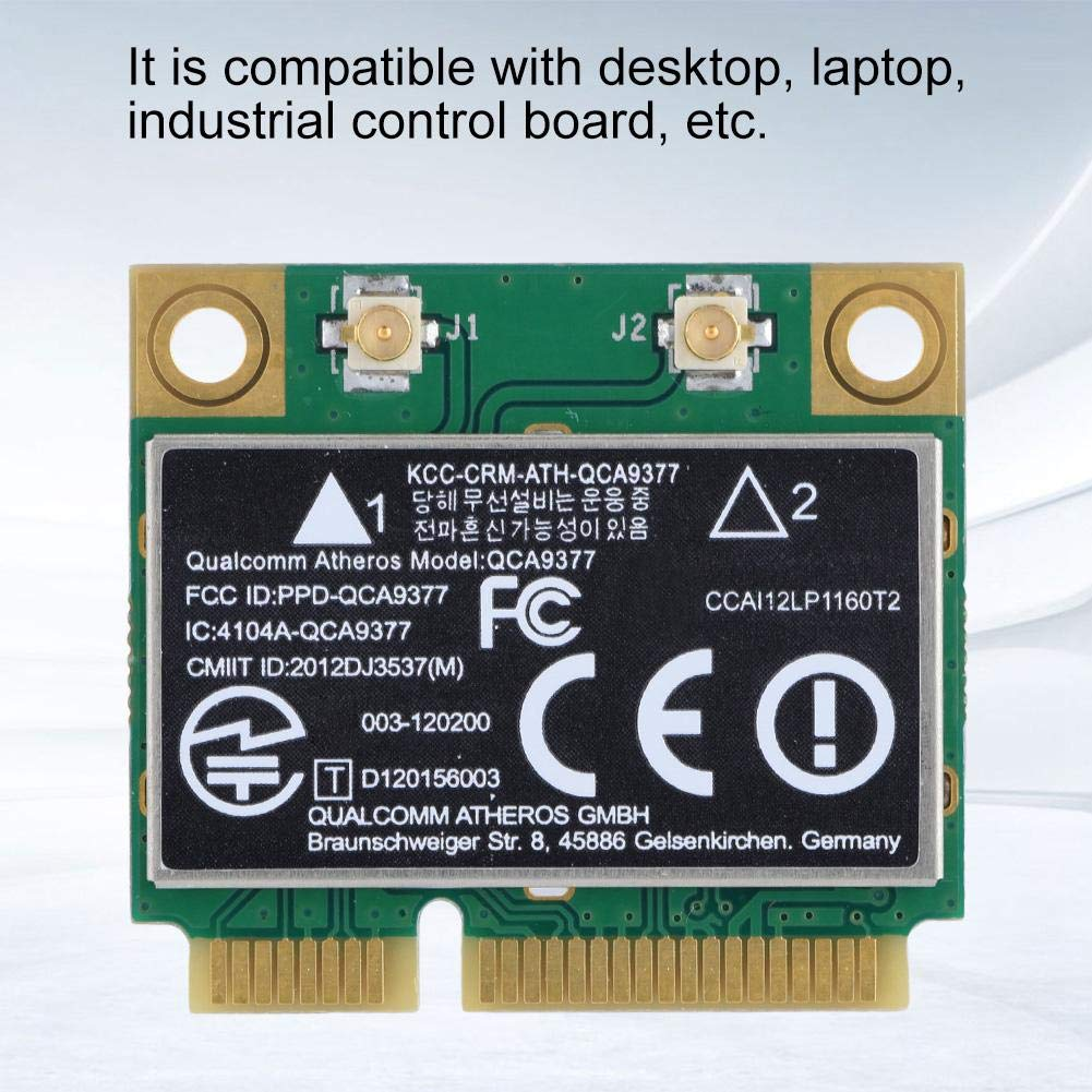 ASHATA Tarjeta de Red de Doble Banda, Tarjeta de Red 2.4G / 5Ghz 433Mbps WiFi Mini Tarjeta inalámbrica PCI-E para Windows 7/10, para computadora de ...