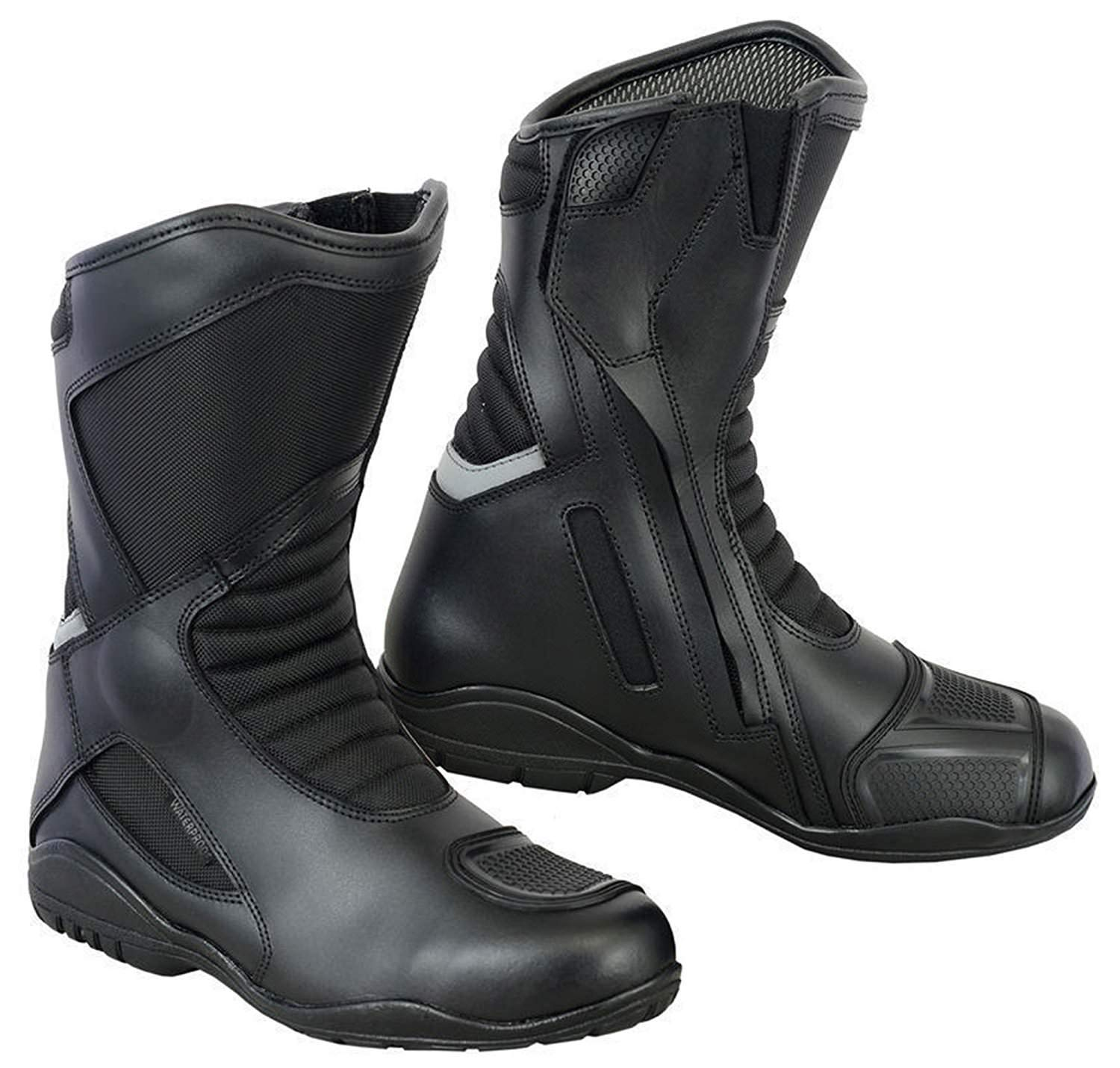 Size UK 8 Motorbike Boots Motorcycle Shoes Biker Racing Stylist Short Ankle Boot Motorcycle Track Touring Shoes Waterproof Armoured for Mens Boys Rider