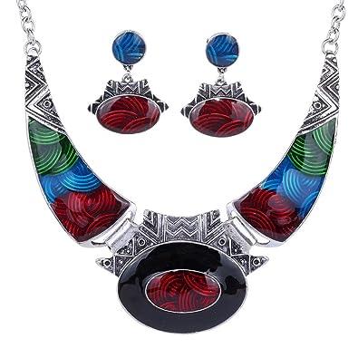 Yazilind Ethnic Multicoloured Embossed Oval Gangle Tibetan Sliver Bib Necklace and Earrings Jewellery Set IUdj6QjAsd