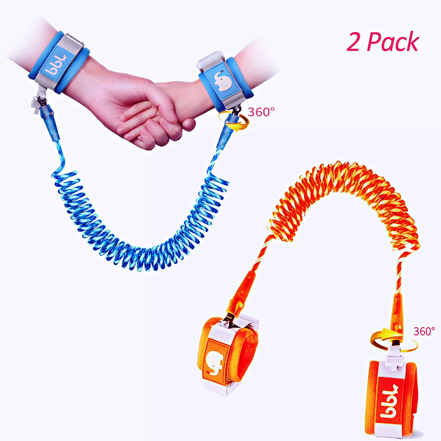 Babies 6.56 Feet Anti Lost Rope Walking Harness with Key Lock Reflective for Kids Anti Lost Wrist Link,Toddles Safety Wrist Leash Blue+Orange