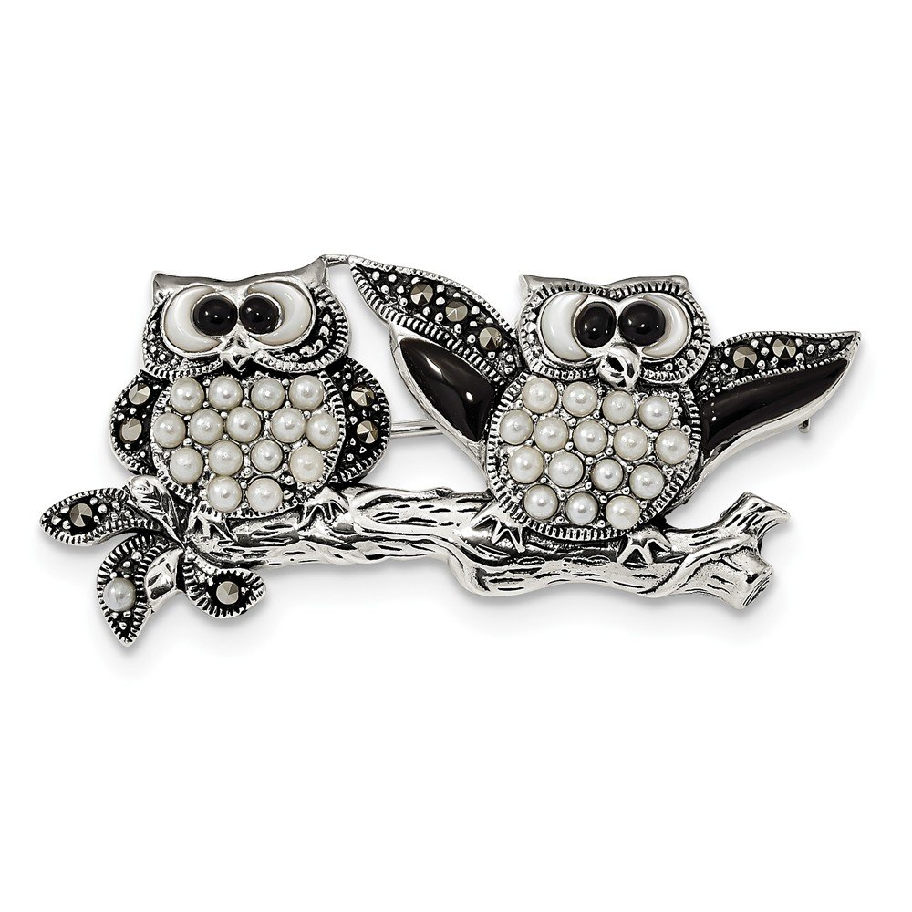 925 Sterling Silver Marcasite Black Agate and Cultured Pearl Fancy OWL Pin for Women