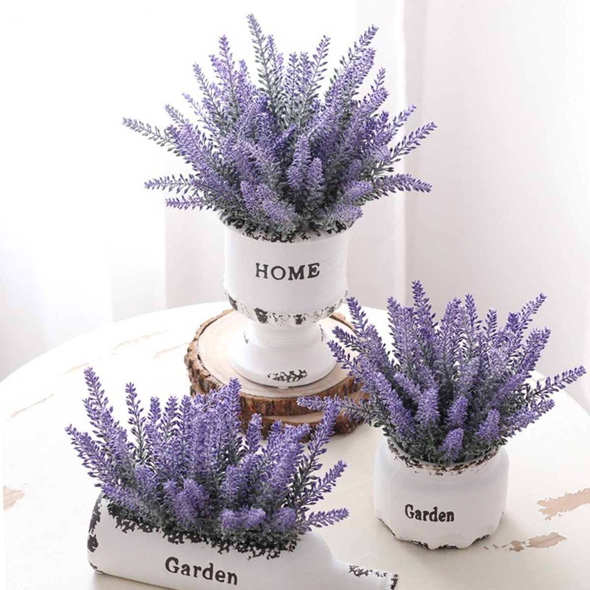 Yinhua 8 Pieces Artificial Flower Purple Lavender Bouquet with Green Leaves Home Party Wedding Decorations