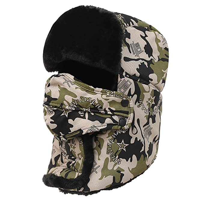 3ce97bd0ccfdc Camouflage Winter Trapper Hat with Breathing Valve Russian Ushanka Trooper  Aviator Bomber Cap for Women Men at Amazon Men s Clothing store