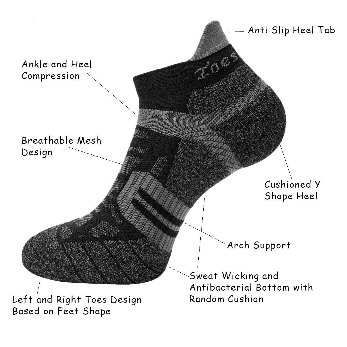 Toes/&Feet Mens Anti Odor Quick-Dry Cushion Low-Cut Compression Running Socks
