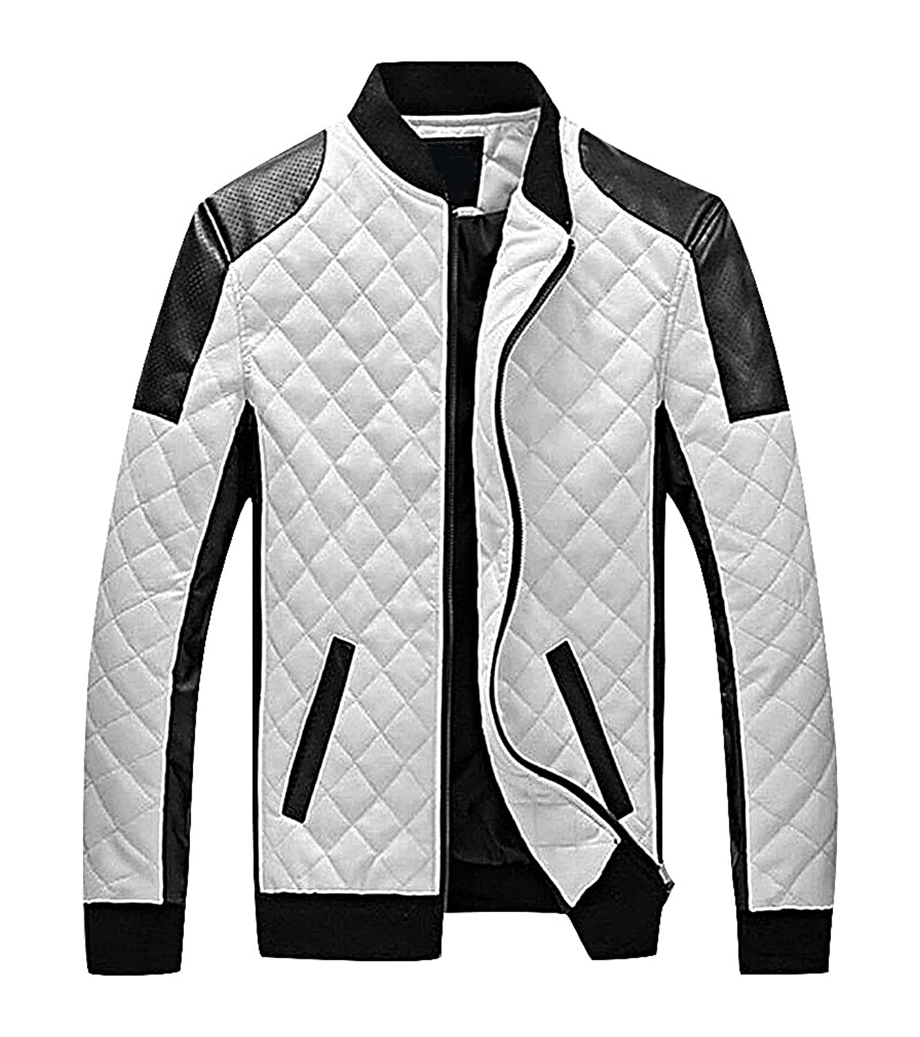 Men24 Men's Black White Panelled Elastic Cuff Rhombic Quilts Fake Leather Jacket