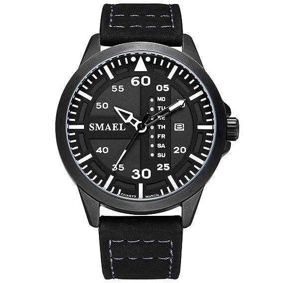 Daesar Reloj Deporte al Aire Libre Reloj Deportivo Reloj Quartz Reloj Impermeable Reloj Calendario Reloj Cuero Reloj Multifunción Reloj Hombre Blanco: ...