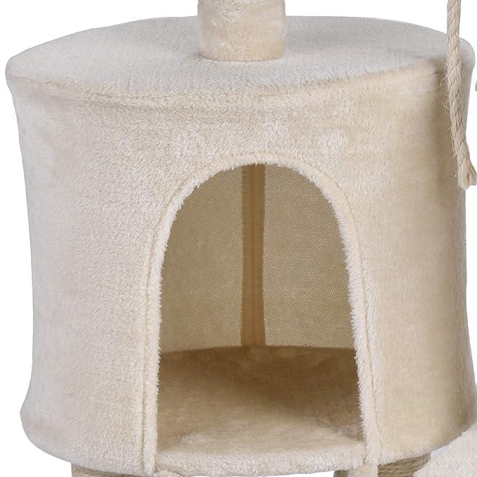 KExing Árbol de Gato Rascador Árbol Trepador Sisal Felpa con Hamaca y Cuerda 96 cm Beige: Amazon.es: Productos para mascotas