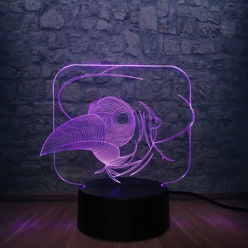 3D Led Animal Lindo Cabeza De Pájaro Ratón Luz Nocturna Ilusión Ambiente Multicolor Dormitorio Lámpara De Sueño Decoración Juguetes De Vacaciones Regalo