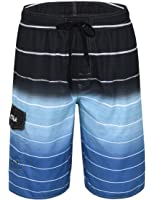 Nonwe Men's Beachwear Quick Dry Striped Board Shorts