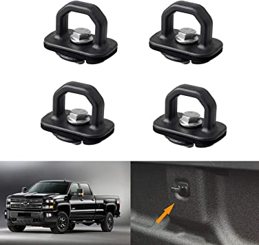 4 Pack-Truck Bed Tie Downs Pickup Anchors Side Wall Hook Rings for 07-18 Chevy Silverado//GMC Sierra,15-18 Chevy Colorado//GMC Canyon Pickup 4 Pcs Tie Down Anchor Truck Bed Anchors