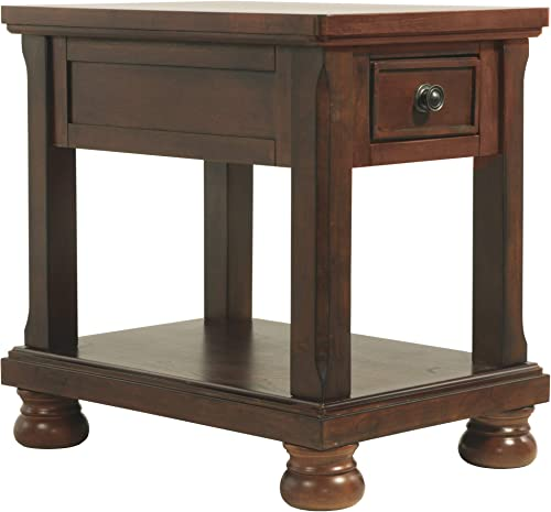 Signature Design by Ashley – Porter Chairside End Table, Rustic Brown