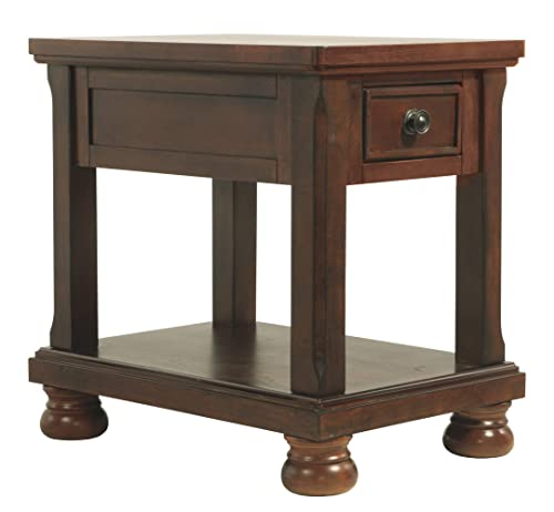 Signature Design by Ashley – Porter chairside Accent Table, Rustic Brown