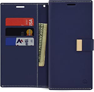 Qoosan iPhone XR Wallet Case, Slim Leather Flip Cover with Card Holder, Navy Blue
