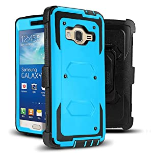 J.west Grand Prime Case, [Kickstand] Shock Absorption Hybrid Dual Layer Full-Body Rugged Holster Armor Defender Protective Case Cover with Belt Clip for Samsung Galaxy Grand Prime/Go Prime (Blue)