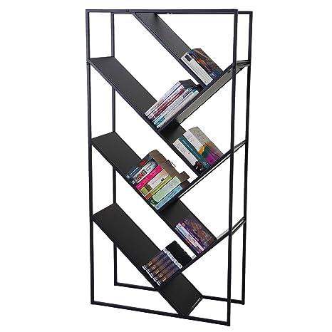 Librerie In Metallo Scaffali.Libreria Scaffale Cher Design Moderno Mdf E Metallo 4 Ripiani