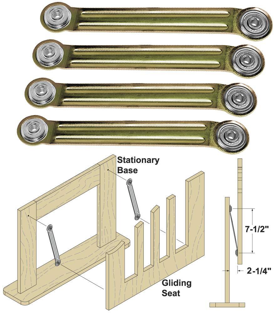 Woodtek 162491,''Hardware, Furniture, Miscellaneous'', Glider Rocker Bearing Arm Assembly, 4-Pack by Woodtek