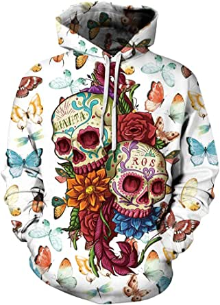 Carprinass Sudaderas unisex con capucha con estampado 3D para mujer, hombre, Halloween, sueltas con capucha, con bolsillo, talla S-5XL