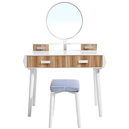 Amazon Com Vasagle Vanity Table Set With Big Round Mirror Large