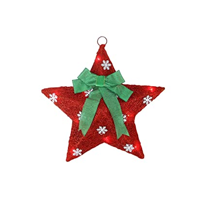 northlight lighted and green sisal hanging christmas star window decoration 17 - Hanging Lighted Christmas Decorations