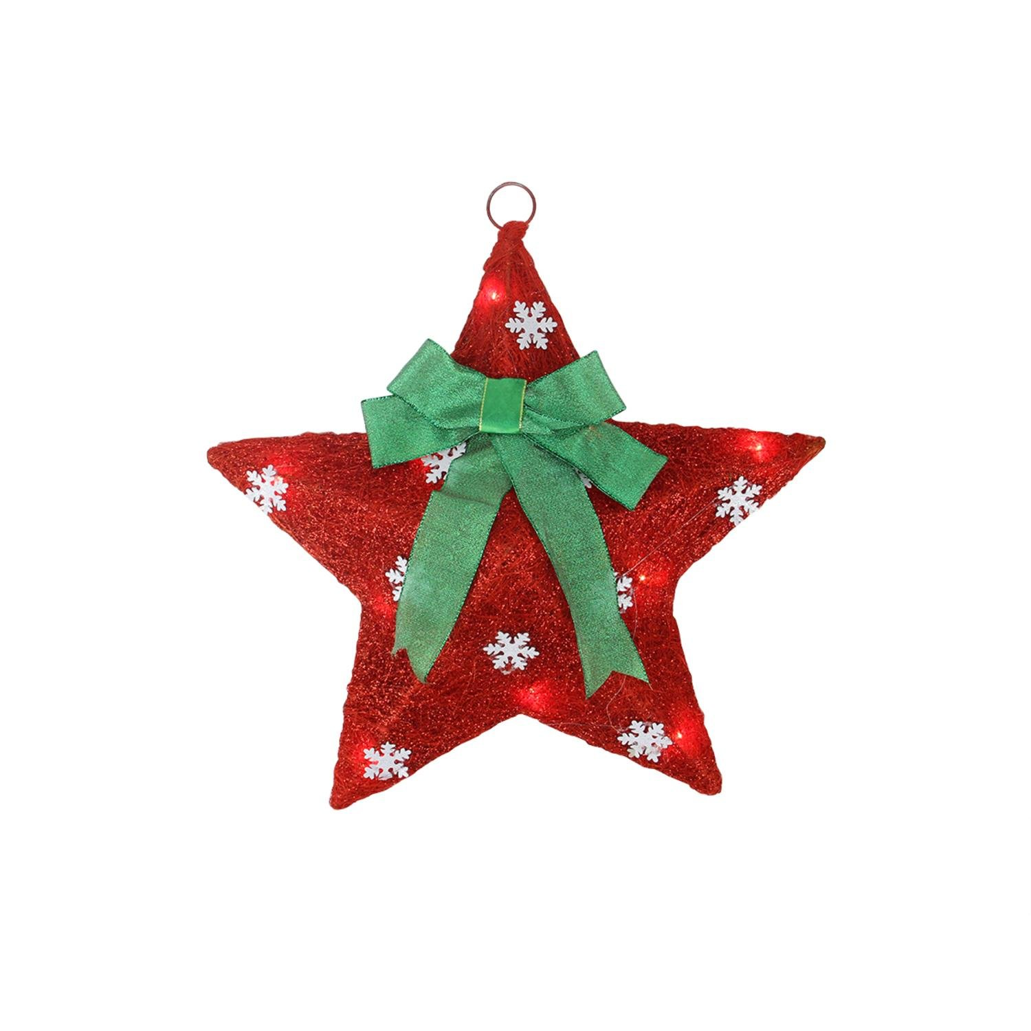 Northlight Lighted and Green Sisal Hanging Christmas Star Window Decoration, 17'', Red