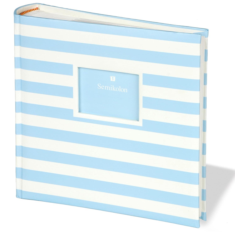 Semikolon (351110) Jumbo Album Baby Blue (Blau-weiß gestreift) | Baby-Foto-Album | Mit 100 Seiten | Foto-Buch zum einkleben mit Pergaminpapier