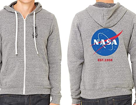 2c9624520 Ripple Junction NASA Adult Unisex Logo EST Light Weight Full Zip Triblend  Hoodie SM Heather Grey