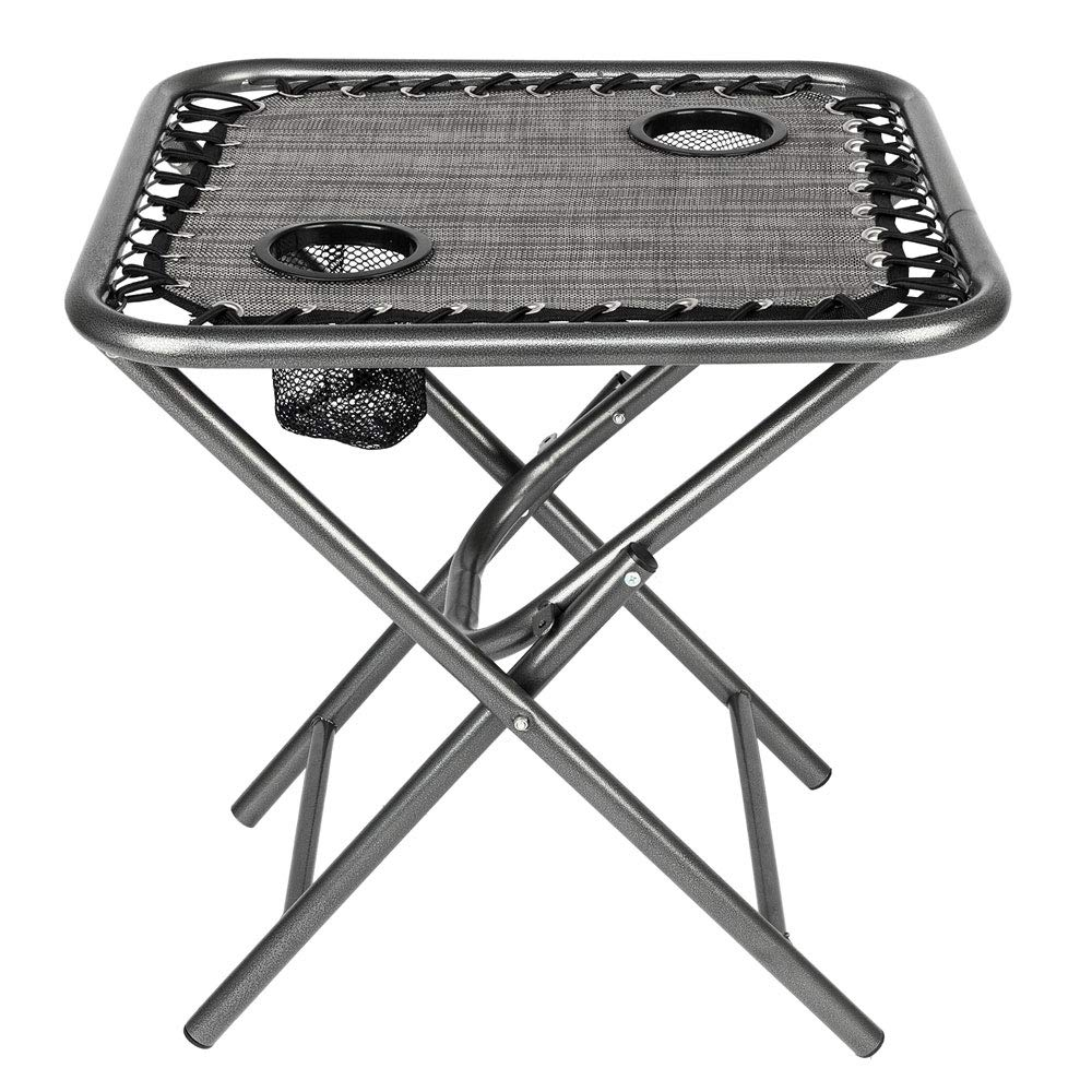 Bonnlo Outdoor Folding Sling Side Table with Mesh Cup Holders for Camping, Picnic, Patio, Garden, Backyard, Beach (Table Only) (Gray)