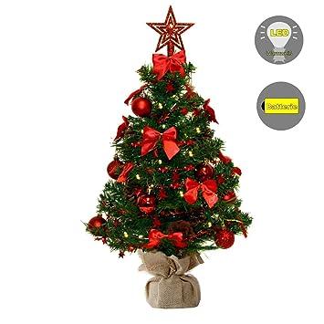Geschmückter Künstlicher Weihnachtsbaum Mit Lichterkette.Baunsal Gmbh Co Kg Weihnachtsbaum Tannenbaum Christbaum Künstlich 90 Cm Grün Mit Roter Dekoration Geschmückt Und Lichterkette Mit Micro Leds
