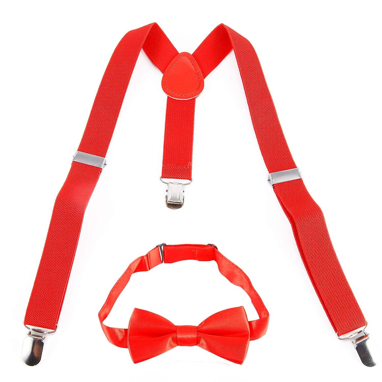 2, 5 * 65cm Bretelle Classique avec noeud de papillon Reglable avec Clips pour garcon fille unisex Neuf