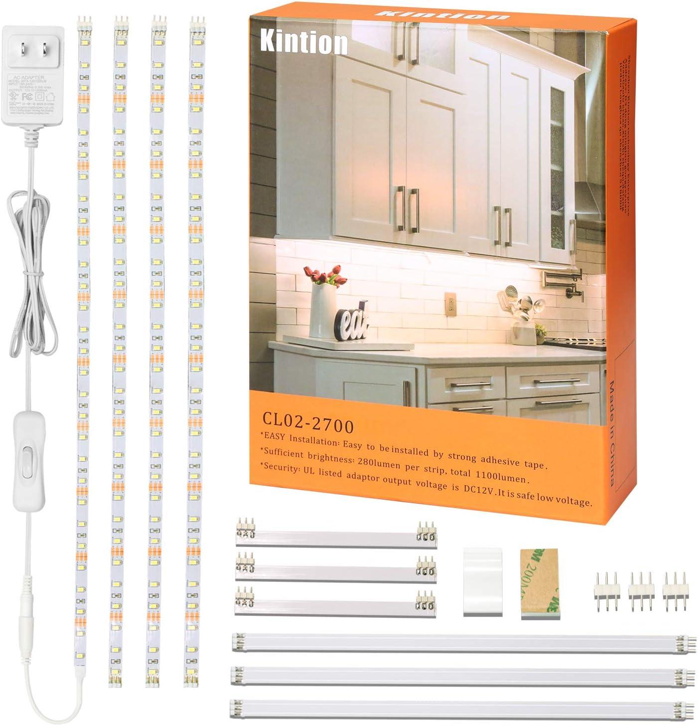kintion led under cabinet lighting under counter lights flexible led tape lights for kitchen shelf showcase cupboard warm white led strip