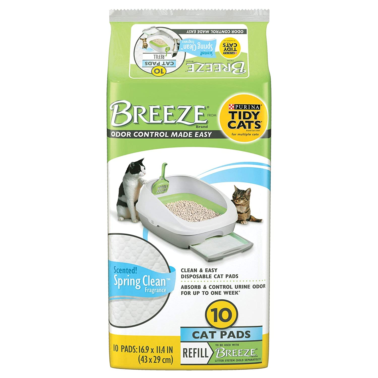Purina Tidy Cats Breeze Spring Clean Cat Pads Refill Pack 10 count pack