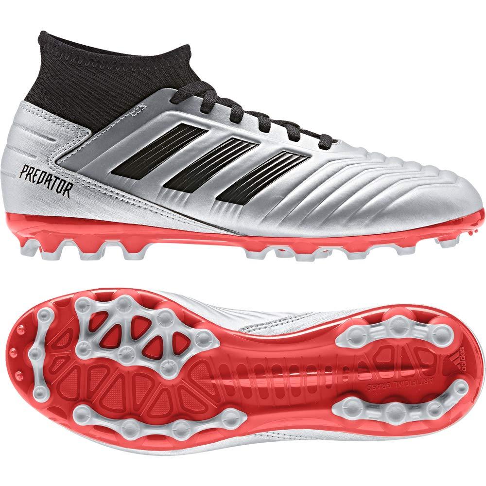 Silver Metallic-Core Black-Hi-Red Red adidas Predator 19.3 AG Enfant Chaussure de Foot
